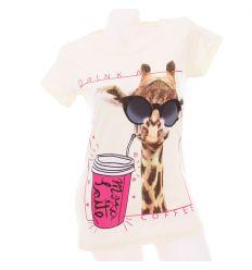 Napszemcsis-kávézós zsiráf mintás, pamut női rövid ujjú póló