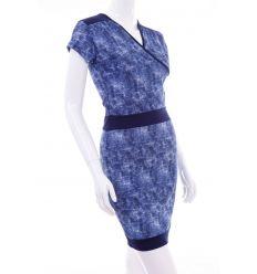 Farmeres anyagú, v-nyakú, rövid ujjú női ruha (2015)