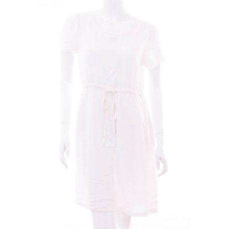 Vászon rövid ujjú derekánál megkötős női ruha (A-08)