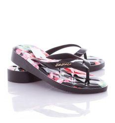 Virágos, steppelt mintás, vastag talpú női lábujjközös papucs, flip-flop (T835)