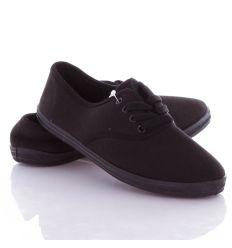 Egyszínű, fűzős, női/kamasz vászon tornacipő (9401)