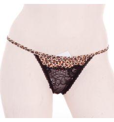 Leopárd mintás, elöl csipkés, rugalmas anyagú női normál alsó, bugyi (31138)