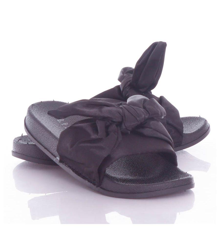Selyem szalagos, masnis pántú női gumi papucs