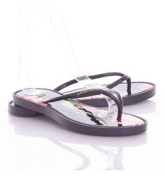 Virágos talpú, lábujjközös, női rugalmas gumi papucs (T928)