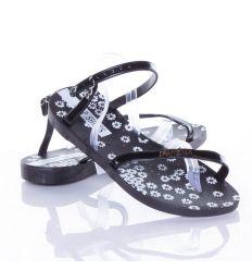B-kategóriás: Virágos talpú, pántján feliratos, lábujjközös női gumiszandál (YEQ-638)