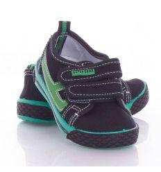 Oldalt műbőr betétes, harántemelős, tépőzáras gyerek vászon cipő (A9859P)
