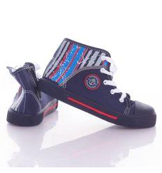 Sarkánál csíkos, fűzős-cipzáros gyerek magasszárú vászon cipő 31-36 (A9832)