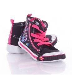 Csajos, fűzős-cipzáros, magasszárú lány vászon cipő 26-31 (A9038)