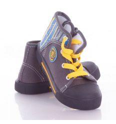 Sarkánál csíkos, fűzős-cipzáros gyerek magasszárú vászon cipő (A9996)