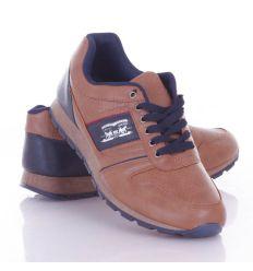 Lovas emblémás, műbőr, férfi fűzős cipő (9909)
