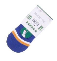 Lábfejnél csíkos, szilikonos sarkú, bambuszos gyerek extra boka titok zokni (GDDN01)