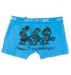 Fenekén 3 majom mintás, rávarrt gumis, pamut fiú boxer alsó (BM86)