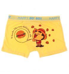 Fenekén hamburger mintás, rávarrt gumis fiú pamut boxer alsó (BM85)