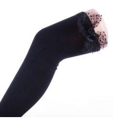 Csillogós-tüll masnis, orrvarrás nélküli, pamut női comb zokni (J507)