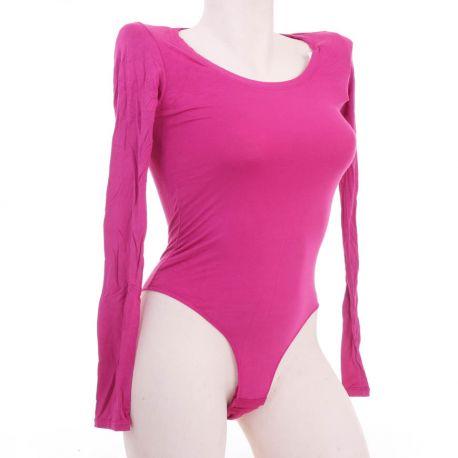 Egyszínű, hosszúujjú, kereknyakú, tangás női body (9025)