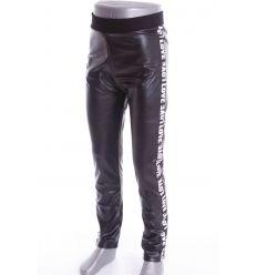 Oldalt feliratos, bársony béléses, műbőr lány leggings, nadrág (LT-7420)