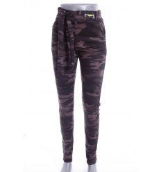 Terepmintás, bolyhos béléses, zsebes női leggings, nadrág övvel (194-131)