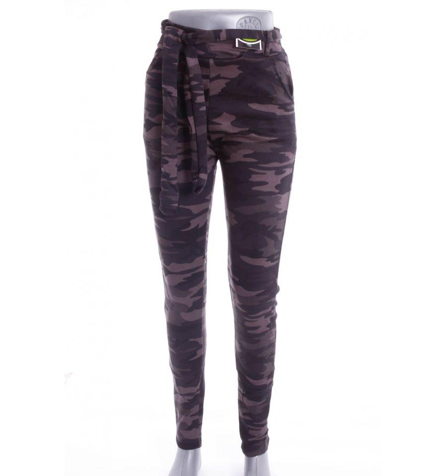2b87fd97cb Terepmintás, bolyhos béléses, zsebes női leggings, nadrág övvel (194-131)