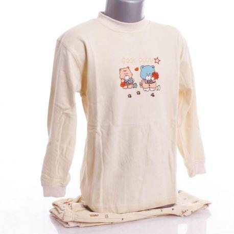 Vegyes mintás, pamut, hosszú ujjú fiú pizsama (G-02B)