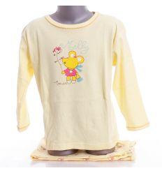 Vegyes mintás, pamut, lány hosszú ujjú pizsama (G-02B)