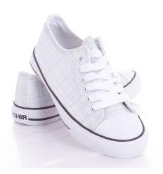 Ezüst szálas, fűzős uniszex vászon torna cipő (CQ-20)