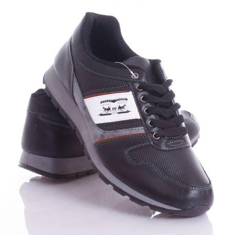 Lovas emblémás, mintás, műbőr, férfi fűzős cipő (9909)