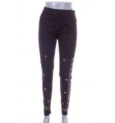 Szárán köves mintás, gumis derekú, női leggings nadrág (A157-143)