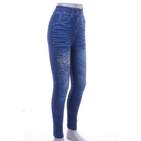 7fb60692aa Színes strasszköves, pillangó mintás, farmeres női rugalmas leggings  (711-33)