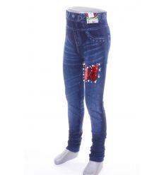 Flitteres, gyöngyös, pillangó mintás, farmeres kamasz lány leggings (702-111)