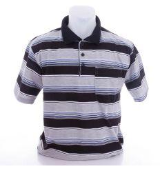 Csíkos, galléros pamutos, elöl zsebes férfi rövid ujjú felső, póló (301)