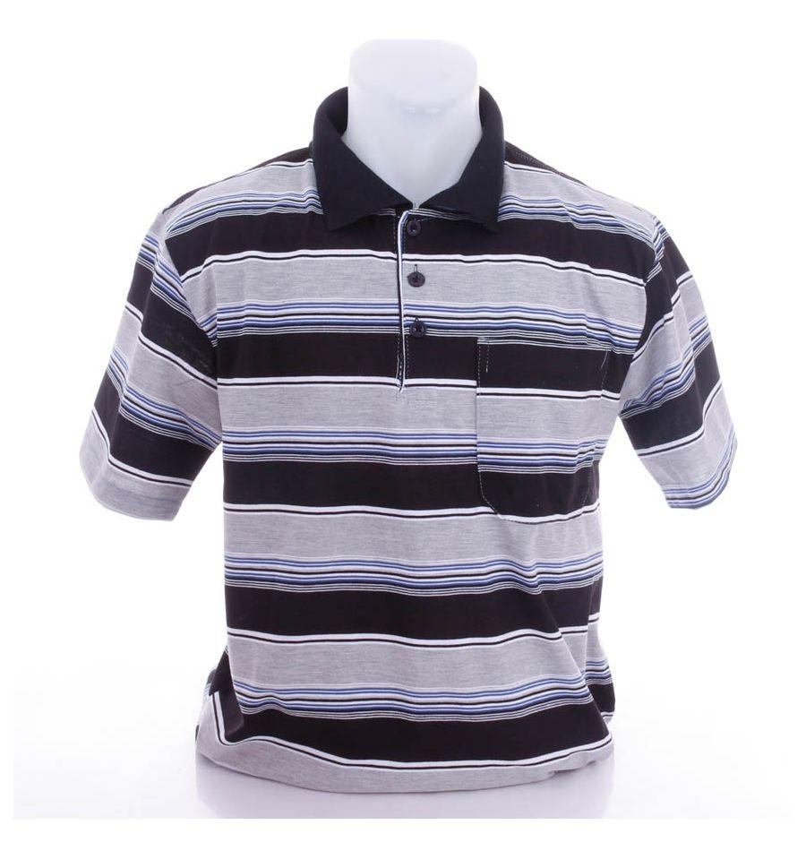 cd974cc464 Csíkos, galléros pamutos, elöl zsebes férfi rövid ujjú felső, póló (301)