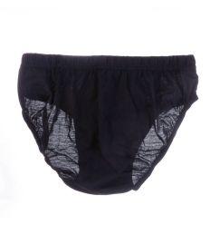 3db/csomag egyszínű fekete, bevarrt gumis, pamut férfi fecske, alsó (FR3337)