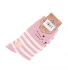 Csíkos, cicás mintás, pamut női normál zokni (WP2087)