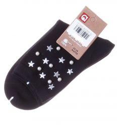 Csillagos, gyöngyös díszes, pamut női normál zokni (NXP59)