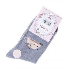 Kávéscsésze mintás, pamut női normál zokni (WP2065)