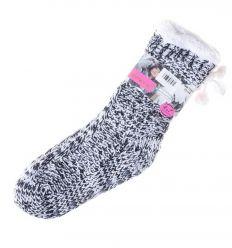 Flitteres, hátul masnis, csúszásgátlós, belül szőrmés női kötött szoba zokni (NM7391)