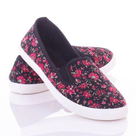 Oldalt gumis, virágos, belebújós női vászon cipő (88 218)