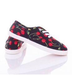 Meggyes mintás, fűzős, női vászon cipő (88-202)