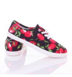 Gyümölcs mintás, fűzős, női vászon cipő (88-203)
