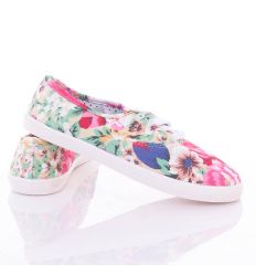 Színes virágos, fűzős, női vászon cipő (88-205)