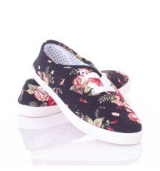 Rózsás mintás, fűzős női vászon cipő (88-207)