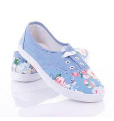 Orrán és arkán virág mintás, fűzős női vászon cipő (0015-15)