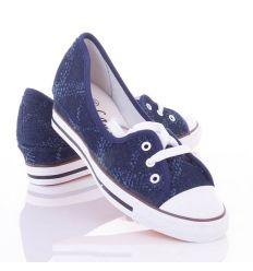Farmeres mintás, fűzős, éksarkú női vászon cipő (88-111)