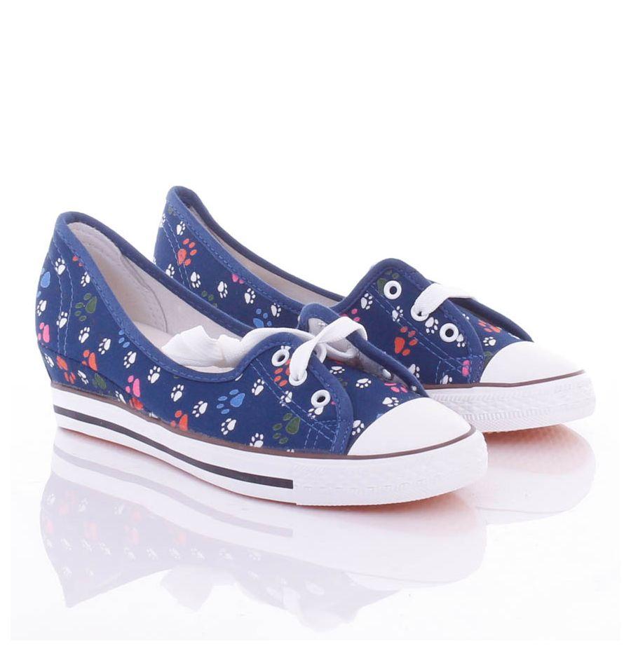 Színes Tappancs mintás, fűzős, éksarkú női vászon cipő (88