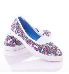 Apró színes virágos, lábfejnél gumis, női balerina vászon cipő (88-220)