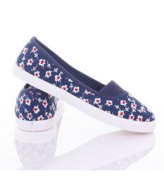 Fehér virágos, lábfejnél gumis női balerina vászon cipő (88-222)