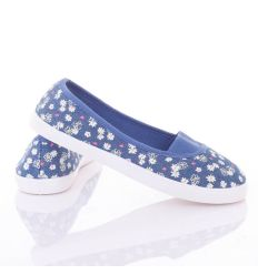 Farmeres, apró virágos, lábfejnél gumis, női balerina vászon cipő (88-226)