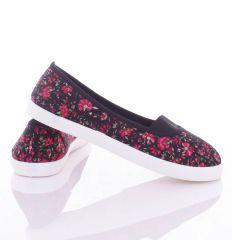 Virág mintás, lábfejnél gumis, balerina vászon cipő (88-225)