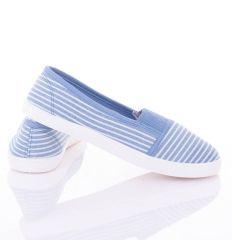 Csíkos farmeres mintás, lábfejnél húzott gumis női vászon cipő (88-259)