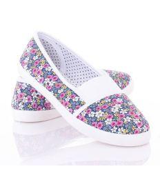 Színes apró virágos, lábfejnél húzott gumis női vászon cipő (88-249)